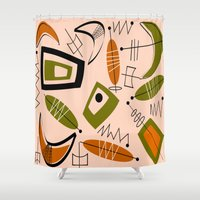 mid century modern Shower Curtains featuring Atomic Mid-Century Modern 2 by Kippygirl