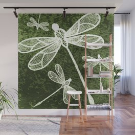 Magical white dragonflies on grunge green background Wall Mural