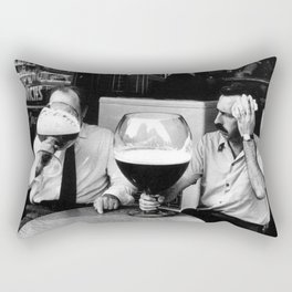 Happy Hour - Men drinking from huge beer mugs after work humorous black and white photograph / art photography Rectangular Pillow