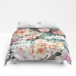 Vintage green pink yellow watercolor roses floral Comforters