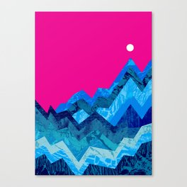The hight waves under a small moon Canvas Print