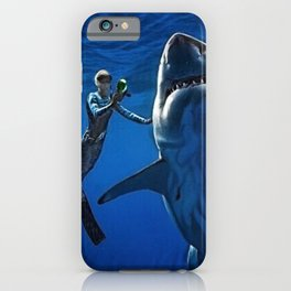 Cold Beauty - Woman Scuba Diving with Great White Shark Portrait Painting iPhone Case