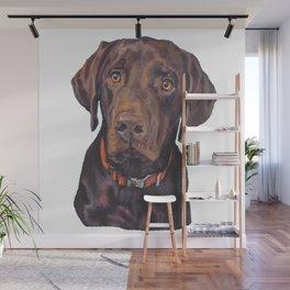 Chocolate lab LABRADOR RETRIEVER dog portrait painting by L.A.Shepard fine art Wall Mural