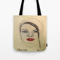fierce Tote Bags featuring Fierce by Darla Designs