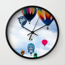 Cute seal, Wolf and Penguin Hot Air Ballons Wall Clock