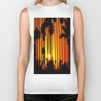 striped Biker Tanks featuring Striped Sunset by Flattering Images