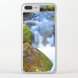 Mossy Rock Falls Montana Whitewater Woodlands Waterfall Green Moss Clear iPhone Case