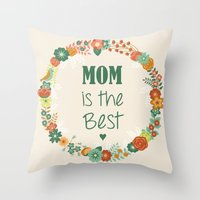 mom Throw Pillows featuring MOM by Vic Torys