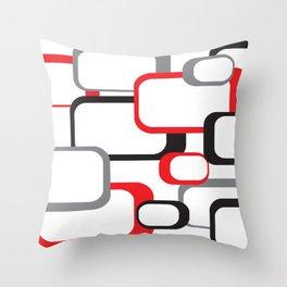 Red Black Gray Retro Square Pattern White Throw Pillow