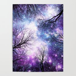 Black Trees Violet Purple Blue Space Poster