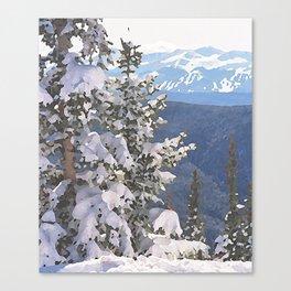 Flocked Tree - Breckenridge, Colorado - Watercolor Effect Canvas Print