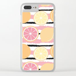 cute striped pattern background with lemons and oranges Clear iPhone Case
