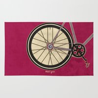 brompton Area & Throw Rugs featuring Single Speed Bicycle by Wyatt Design