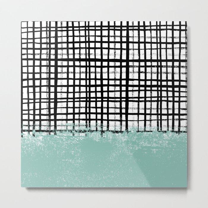 Mila - handpainted grid lines crosshatch weave with mint sage stripe minimalist nursery Metal Print