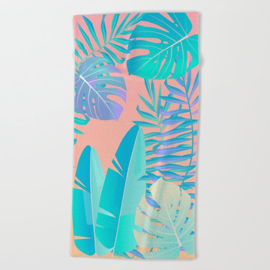 Tropics ( monstera and banana leaf pattern ) Beach Towel