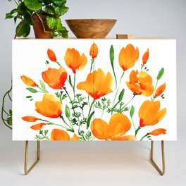 Watercolor California poppies Credenza