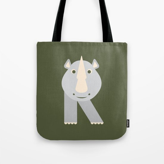 Letter R // Animal Alphabet // Rhino Monogram Tote Bag