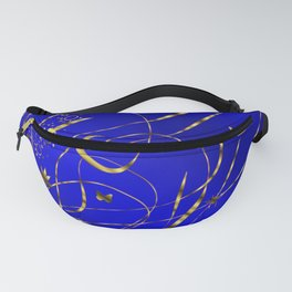 blue festive shiny metal pattern with small butterflies, Asian flowers and drops of water Fanny Pack