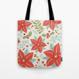 Holiday Poinsettia Mistletoe and Holly Berries Christmas Pattern in Red Green Blue Gray Tote Bag