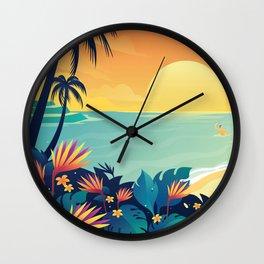Sunset Beach Illustration Wall Clock
