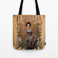 typography Tote Bags featuring The Amazing Tattooed Lady by Rudy Faber