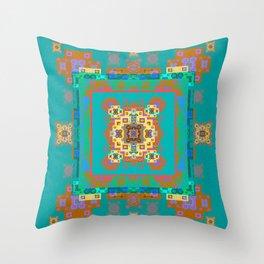 Turquoise Persian Rug Deconstruction Mandala Throw Pillow