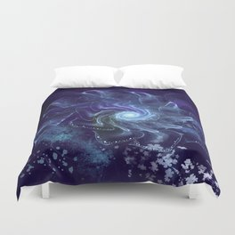 Midnight Lace Mixed Media Duvet Cover