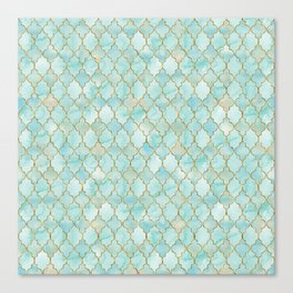 Luxury Aqua and Gold oriental pattern Canvas Print