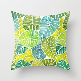 Tropical Leaves Alocasia Elephant Ear Plant Blue Green Throw Pillow