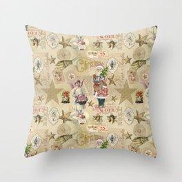 Vintage Christmas Collage Pattern Throw Pillow