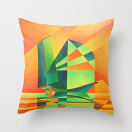 Chinese Junk Sails at Sunrise Throw Pillow