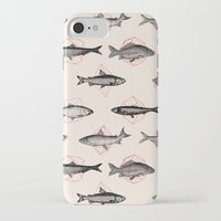 cake iPhone & iPod Cases featuring Fishes In Geometrics (Red) by Florent Bodart / Speakerine