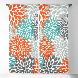 Floral Pattern, Abstract, Orange, Teal and Gray Blackout Curtain