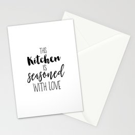 Kitchen Quote, This kitchen is seasoned with love, Home Decor, Kitchen Poster Stationery Cards
