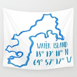 Water Island coordinates Wall Tapestry