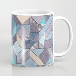 Shifitng Geometric Pattern in Blue Coffee Mug