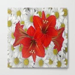 RED AMARYLLIS WHITE DAISIES FLORAL ART Metal Print