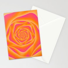 Orange and Pink Rose Spiral Stationery Cards
