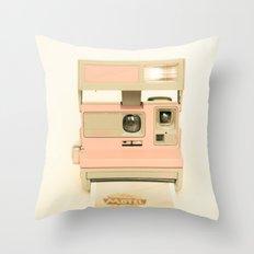 Pink Pola Love vintage camera Throw Pillow