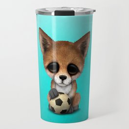 Cute Baby Fox With Football Soccer Ball Travel Mug