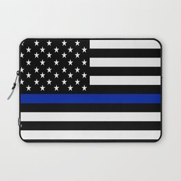 Blue Police Flag with Officers Laptop Sleeve