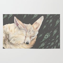 Fennec Fox Feather Dreams in Green & Grey Rug