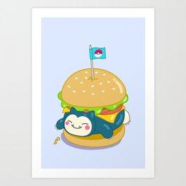 Snorlax Burger Art Print