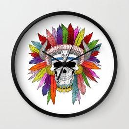 Shamanistic skull Wall Clock