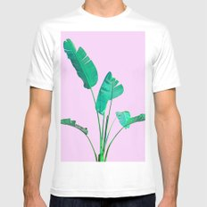 Pink Banana Palm Mens Fitted Tee White MEDIUM