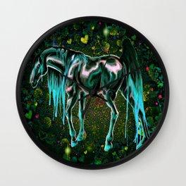 Teal Love Horse Wall Clock