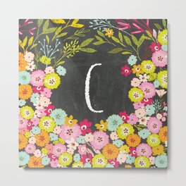C botanical monogram. Letter initial with colorful flowers on a chalkboard background Metal Print