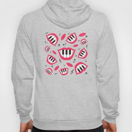 Piano smile pattern in grey&red Hoody