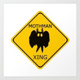 Mothman crossing sign Art Print
