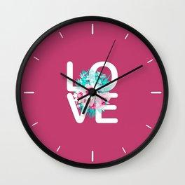 Elegant Floral Love Typography Wall Clock